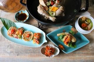 2017参鶏湯,チジミ、センガン茶、さきイカ、鯵韓国、水キムチ1